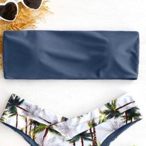 Zaful Bandeau Bikini Top in blue/slate grey